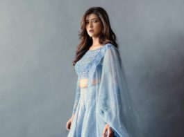 Lakshmi Manchu in aegean blue lehenga from jade for Zee telugu Ugadi spl Prgm-3