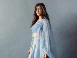 Lakshmi Manchu in aegean blue lehenga from jade for Zee telugu Ugadi spl Prgm-3