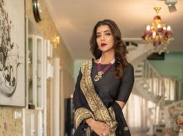 Lakshmi Manchu in black suit by Raga Kunche and dupatata by Rajyalakshmi