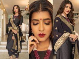 Lakshmi Manchu in black suit by Raga Kunche and dupatata by Rajyalakshmi -featured