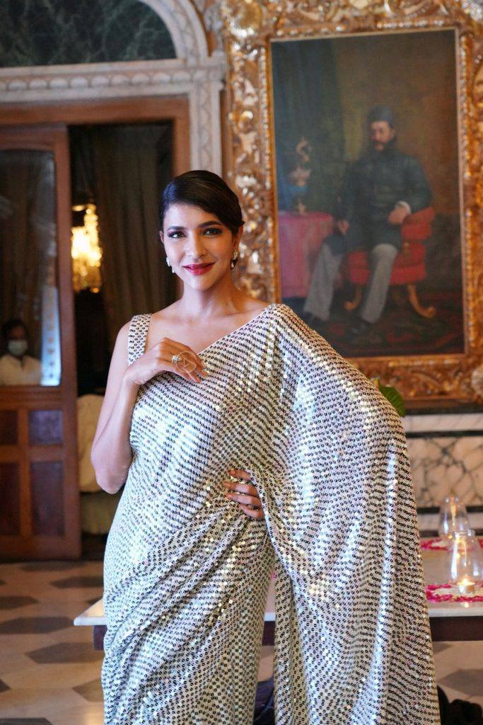 Lakshmi Manchu in silver sequin saree for 10 years of sandy-2