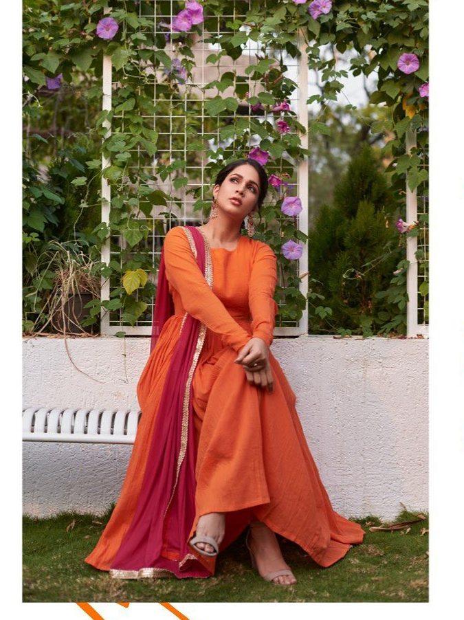 Lavanya Tripathi in orange anarkali by True Browns-1