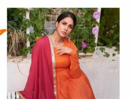 Lavanya Tripathi in orange anarkali by True Browns