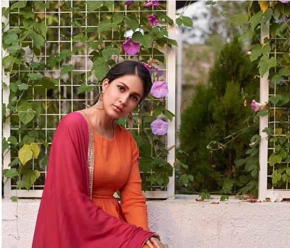 Lavanya Tripathi in orange anarkali by True Browns-3