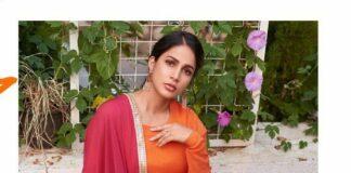 Lavanya Tripathi in orange anarkali by True Browns