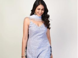 Lavanya Tripathi in white kurta set by Devnaagri