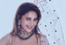 Madhuri Dixit in kurta ghagra set by Tamanna Punjabi Kapoor for Dance Deewane-2