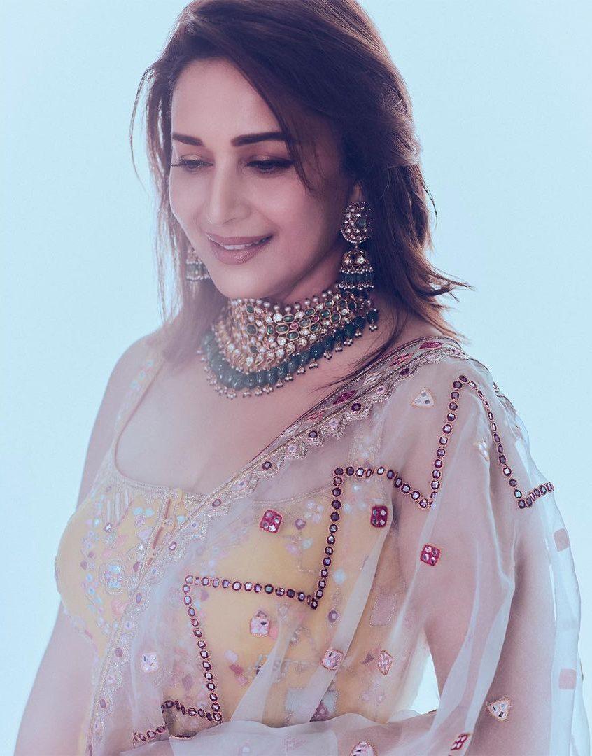 Madhuri Dixit in kurta ghagra set by Tamanna Punjabi Kapoor for Dance Deewane