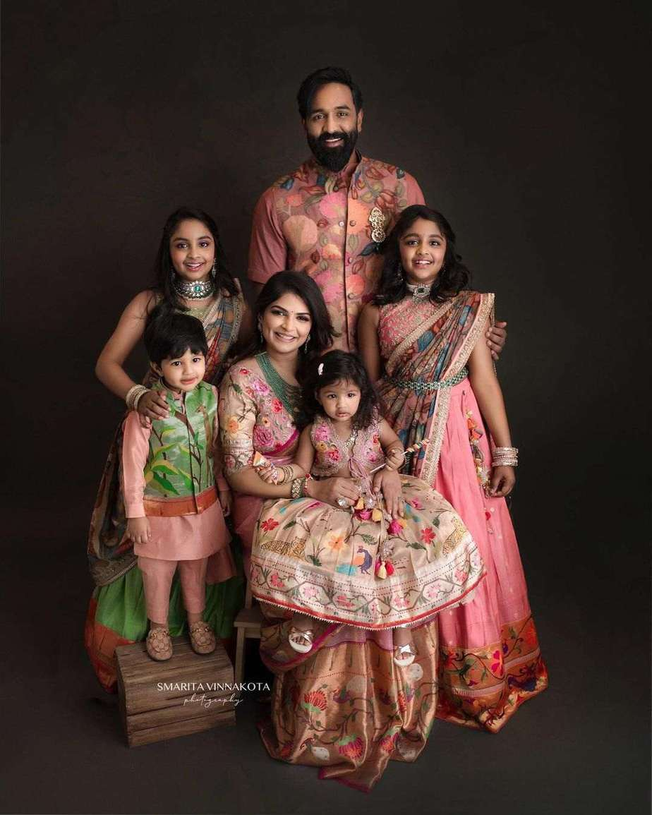 Manchu family in matching label vida outfits for Ugadi-1