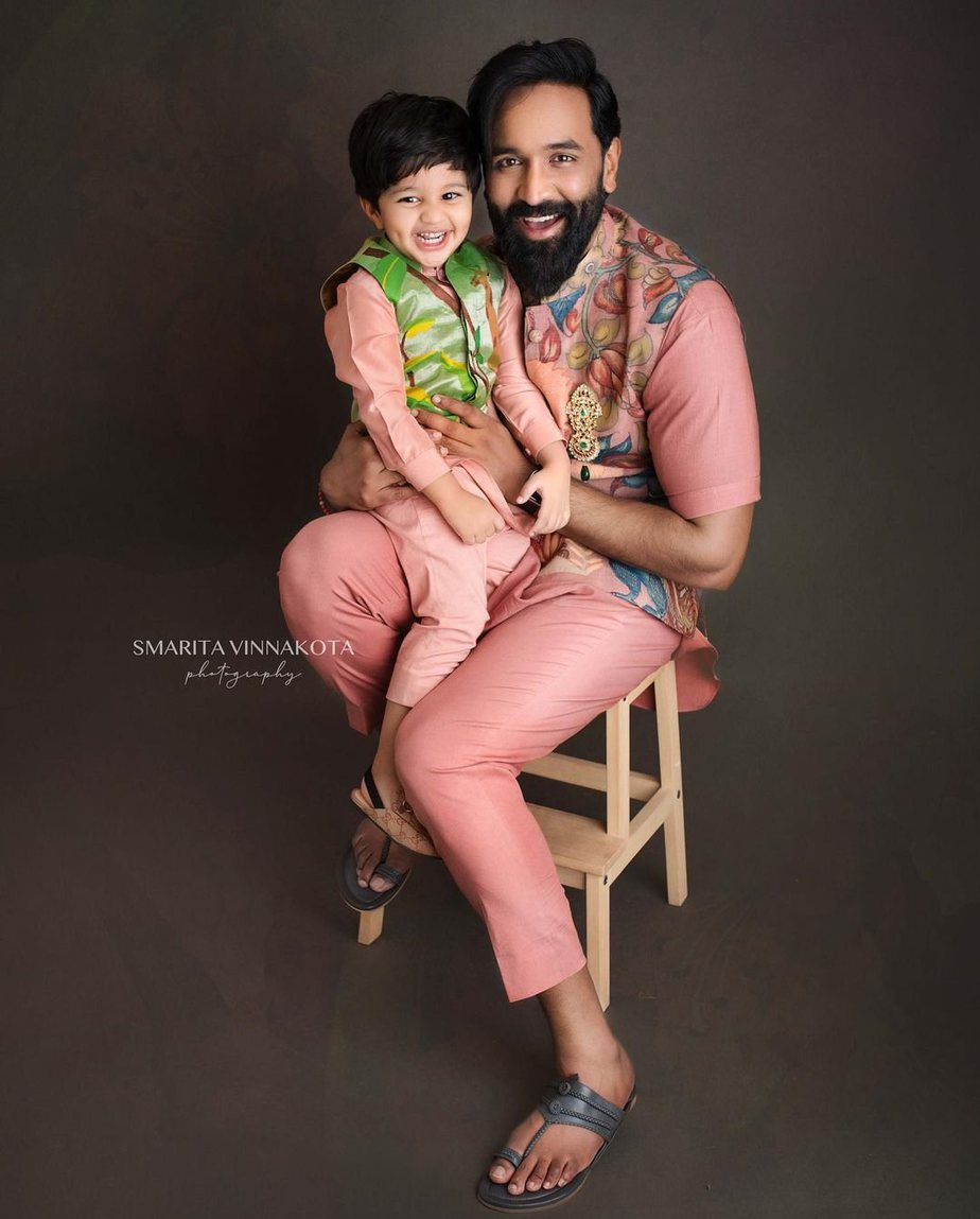 Manchu family in matching label vida outfits for Ugadi-3