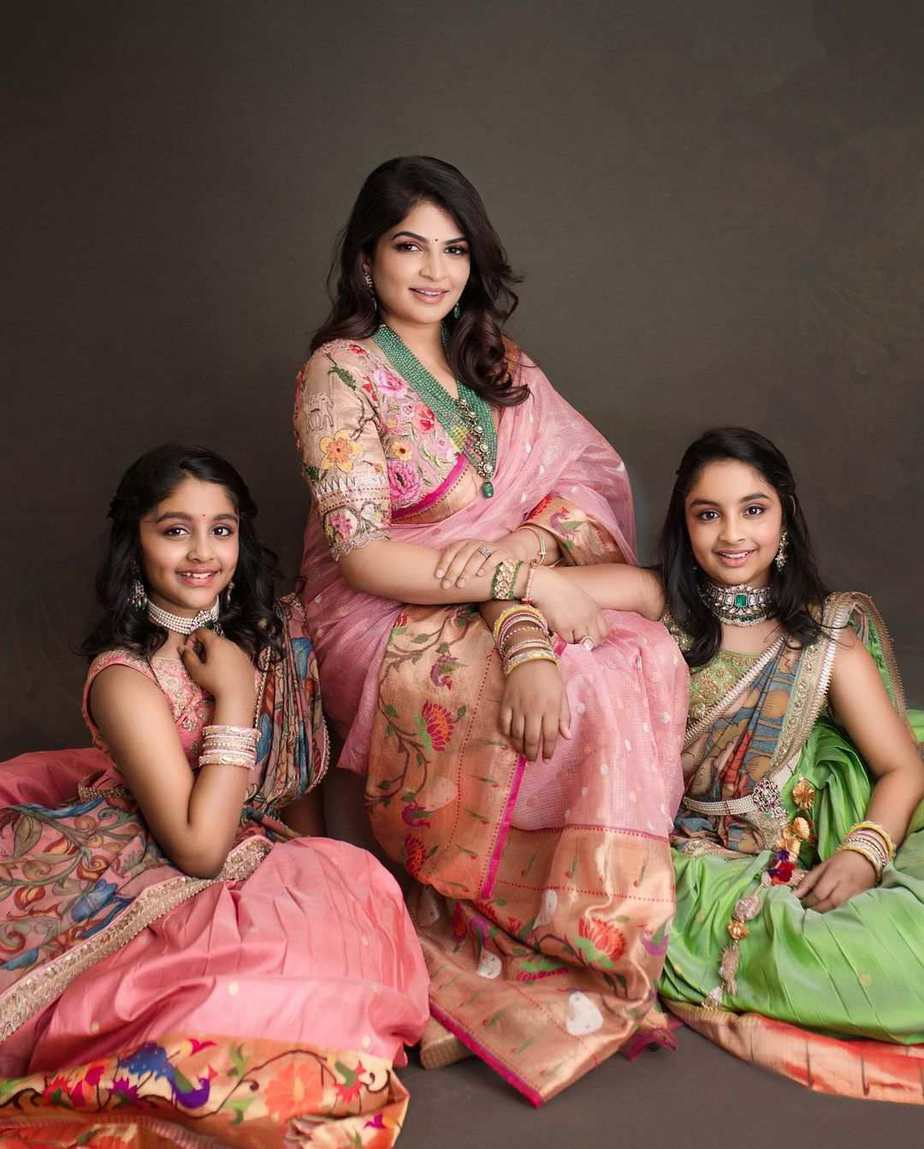 Manchu family in matching label vida outfits for Ugadi