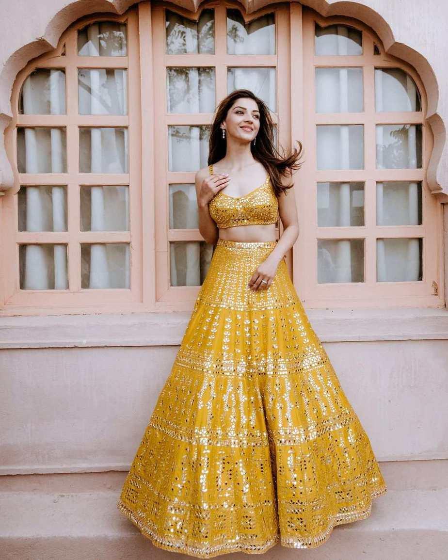 Mehreen Pirzadaa in yellow lehenga by Seema Gujral-1