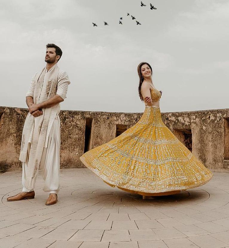 Mehreen Pirzadaa in yellow lehenga by Seema Gujral-2