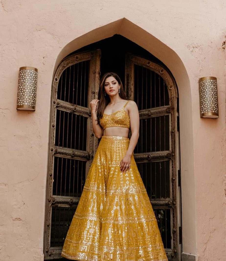 Mehreen Pirzadaa in yellow lehenga by Seema Gujral-3