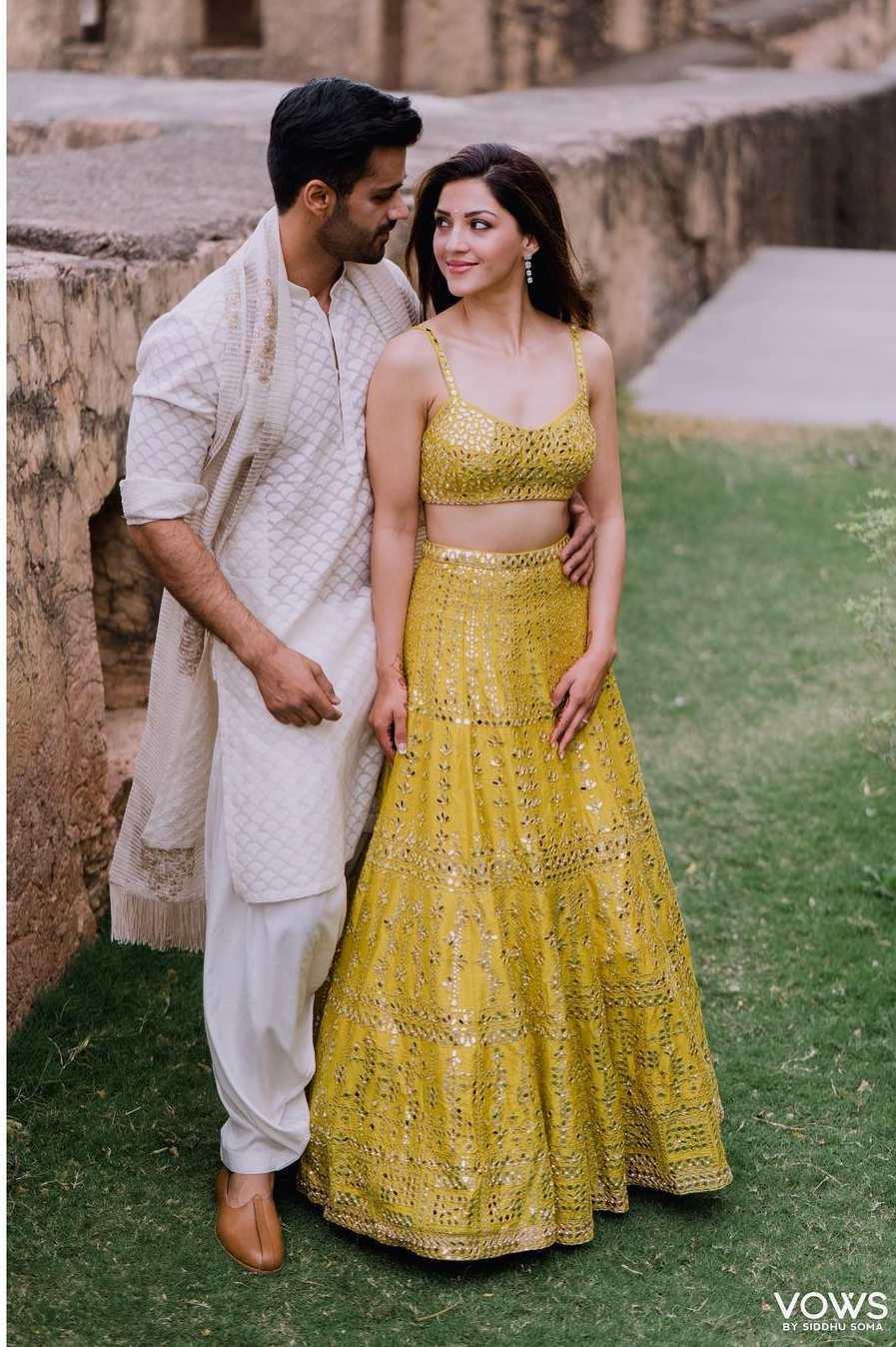 Mehreen Pirzadaa in yellow lehenga by Seema Gujral