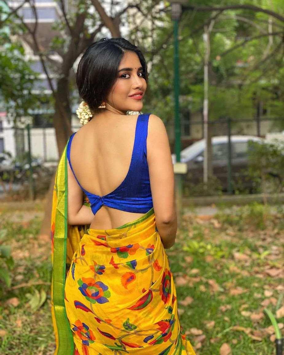 Nabha Natesh in yellow saree for Ugadi-2