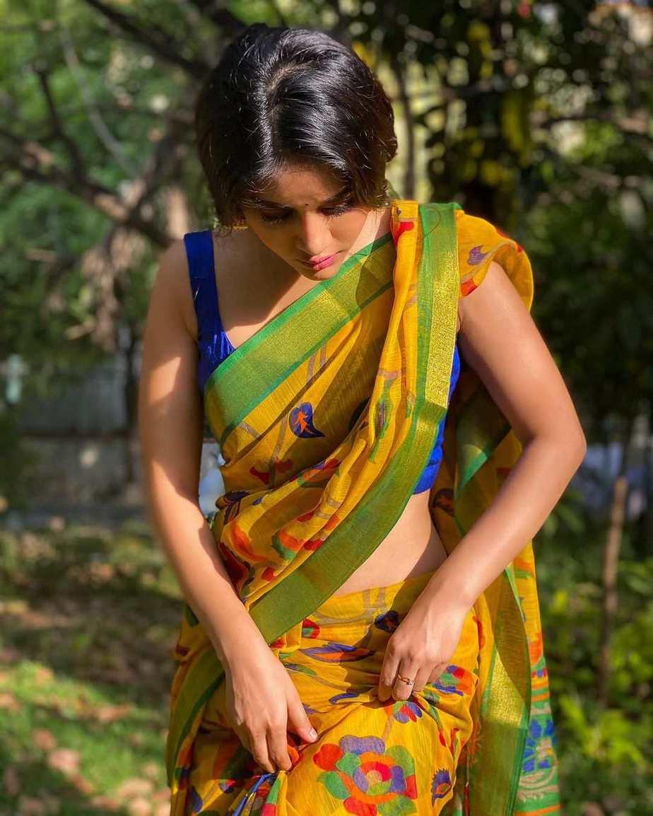 Nabha Natesh in yellow saree for Ugadi-3