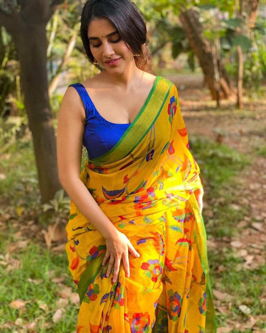 Nabha Natesh in yellow saree for Ugadi