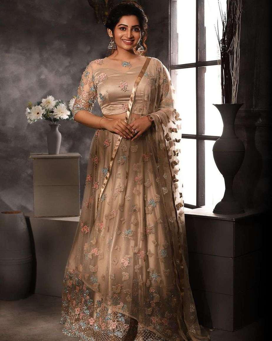 Nakshathra Nagesh in champagne gold lehenga by label evangelin-1