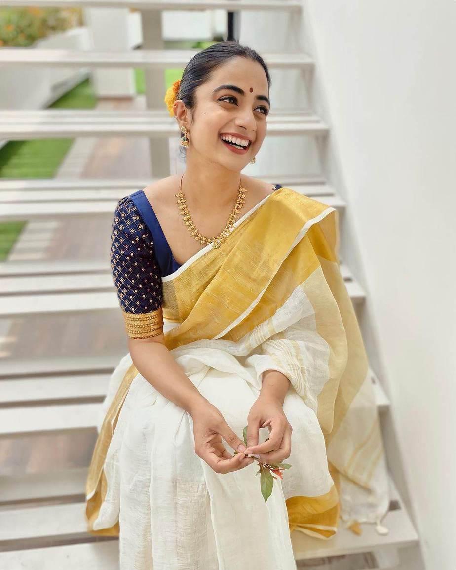 Namitha Pramod in set mundu for Vishu