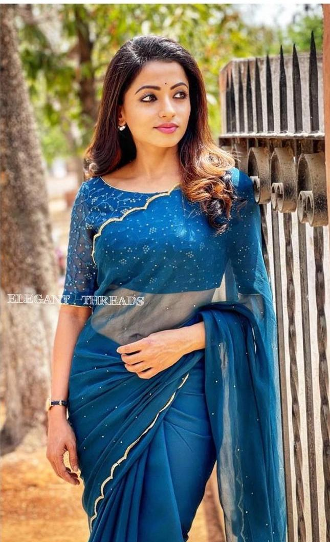 Navya Swamy in azure blue saree by Salma Azad-1