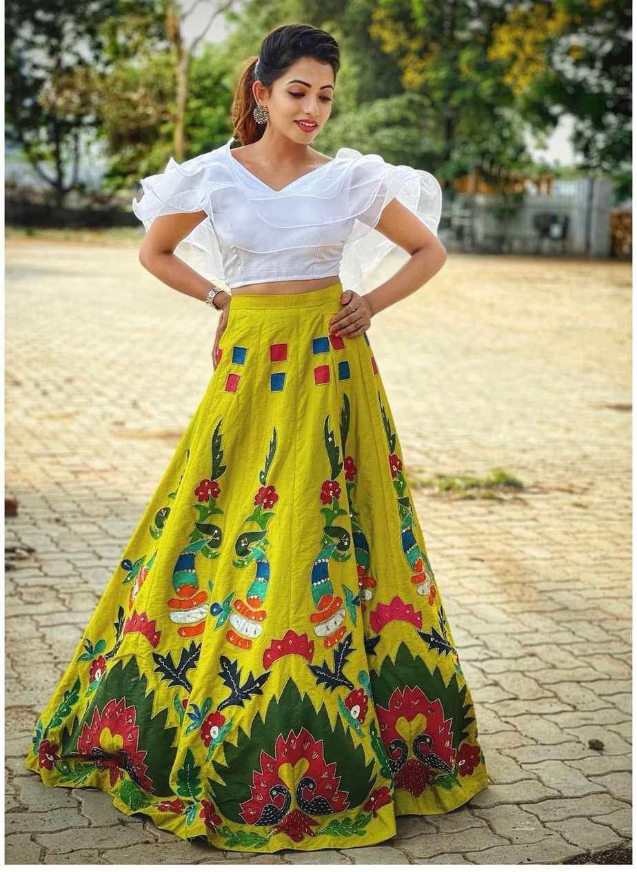 Navya Swamy in crop top and lehenga by Tasya couture-2