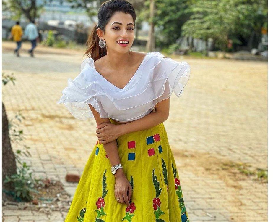 Navya Swamy in crop top and lehenga by Tasya couture-3