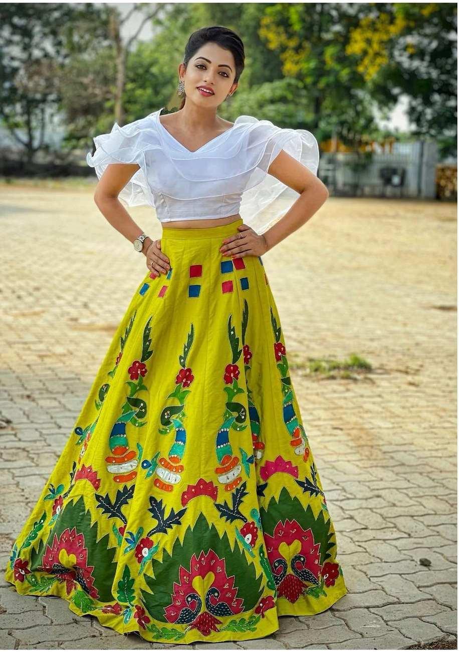 Navya Swamy in crop top and lehenga by Tasya couture