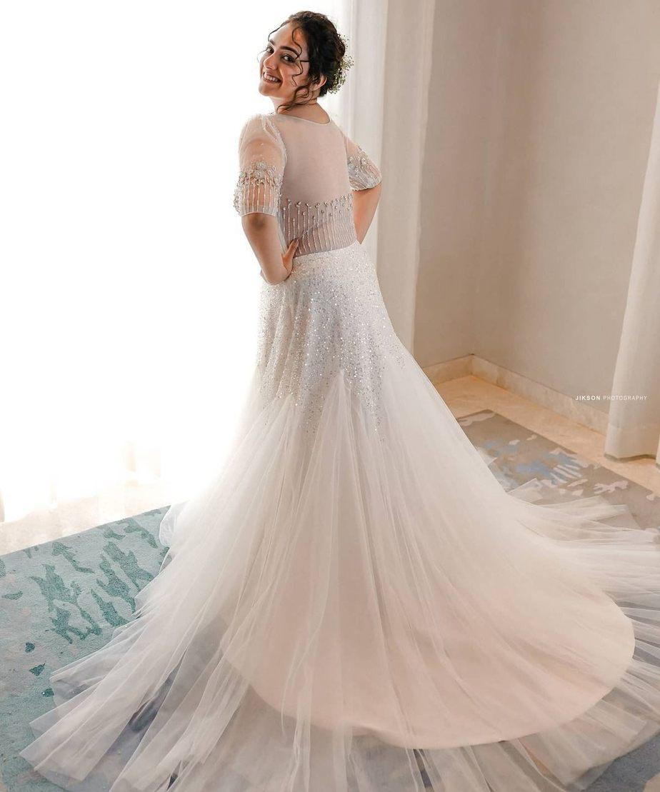 Nithya Menen in label M white gown -2