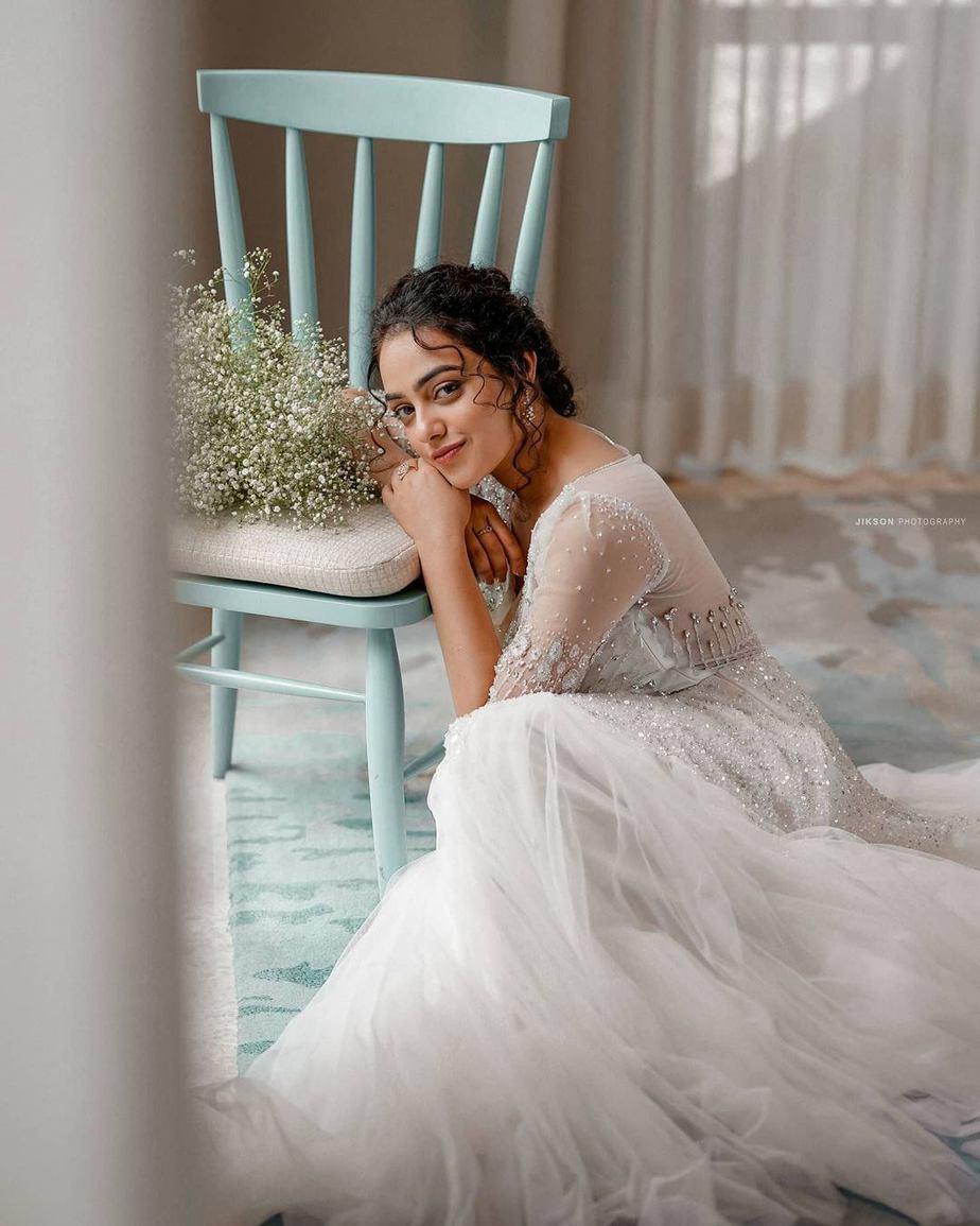 Nithya Menen in label M white gown -4