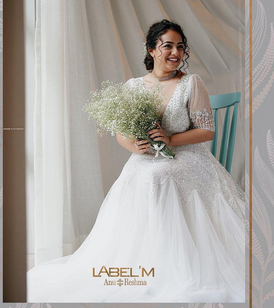 Nithya Menen in label M white gown
