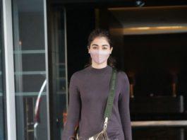 Pooja Hegde in mocha dress at dubbing studio-2
