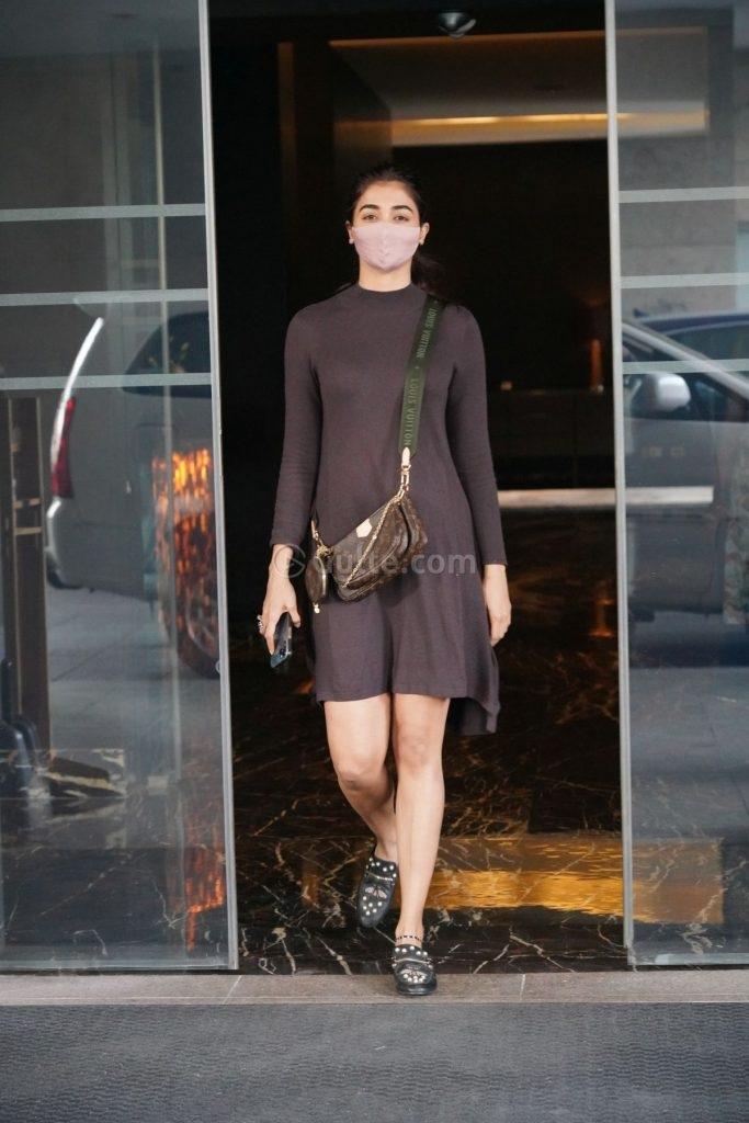 Pooja Hegde in mocha dress at dubbing studio-3