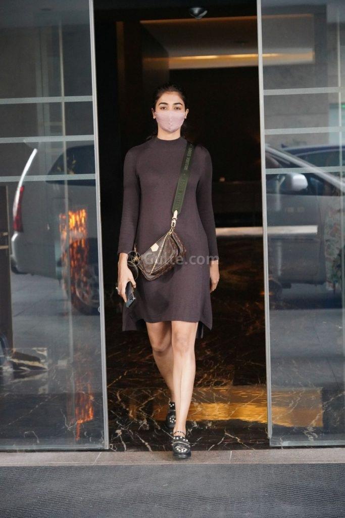 Pooja Hegde in mocha dress at dubbing studio-4
