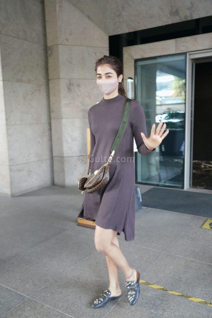 Pooja Hegde in mocha dress at dubbing studio