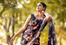 Poorna in ink blue saree by label ell