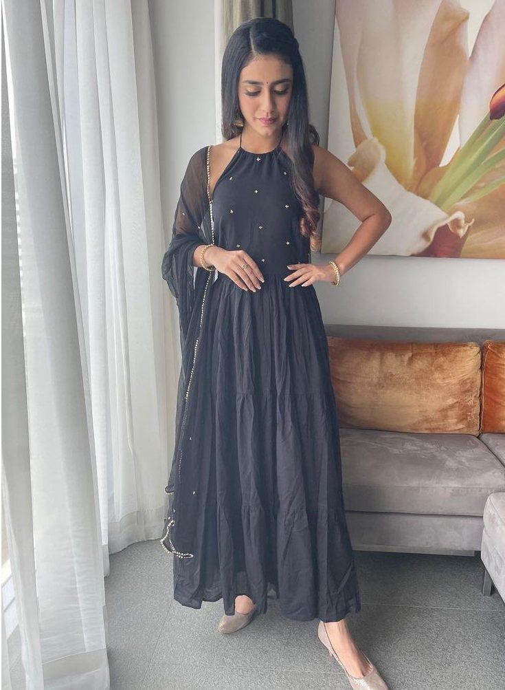 Priya Prakash Varrier in black tier dress by Ambraee-1
