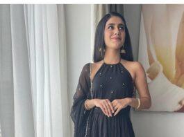 Priya Prakash Varrier in black tier dress by Ambraee-2