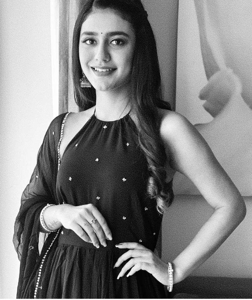 Priya Prakash Varrier in black tier dress by Ambraee-3