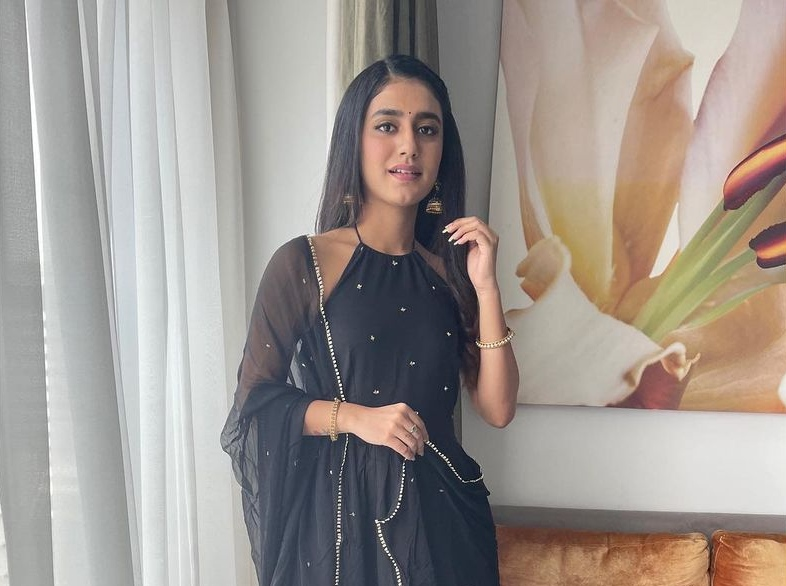 Priya Prakash Varrier in black tier dress by Ambraee-4