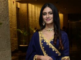 Priya Prakash Varrier in navy blue anarkali for Ishq pre-relese event-1