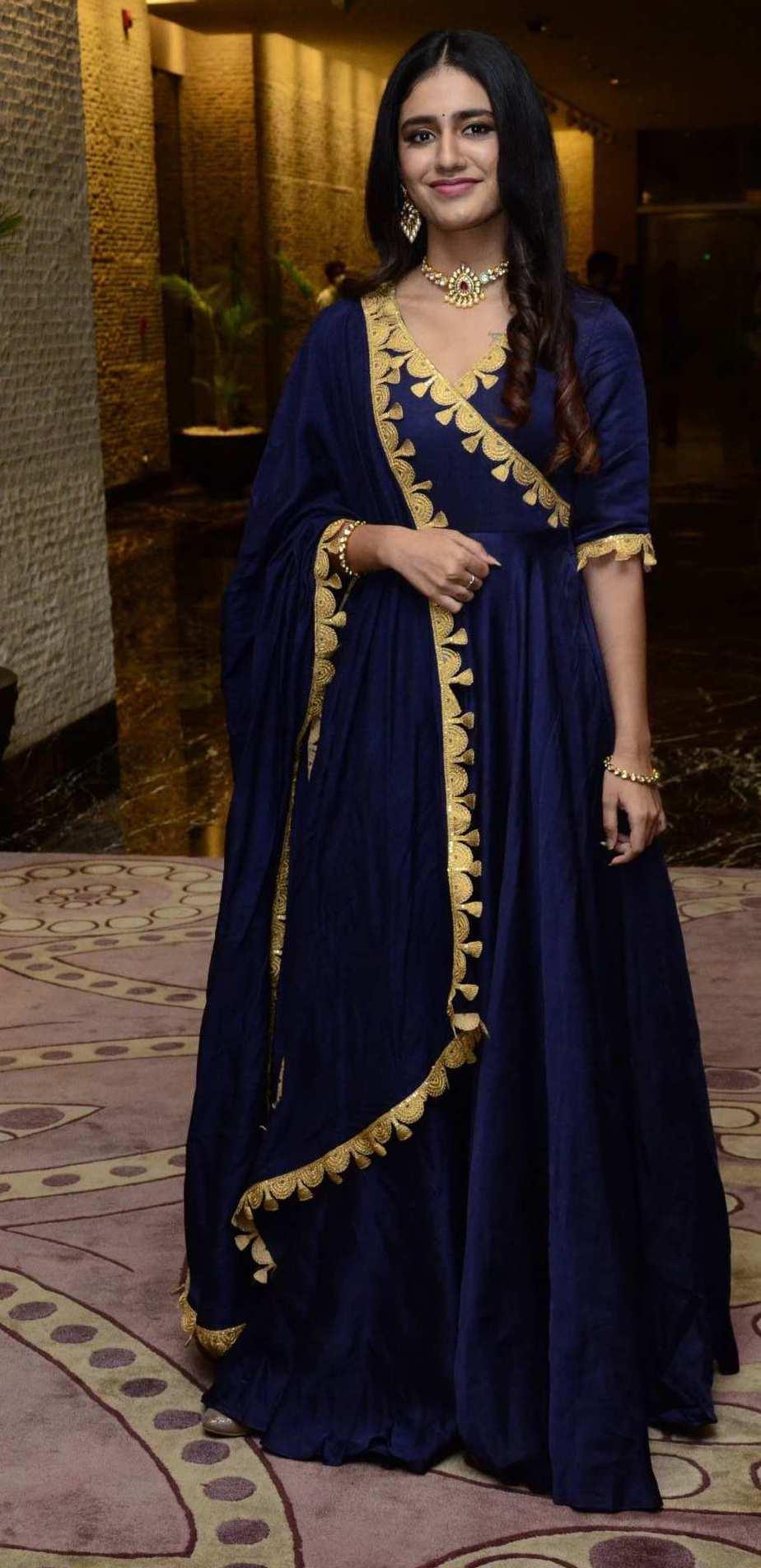 Priya Prakash Varrier in navy blue anarkali for Ishq pre-relese event-1