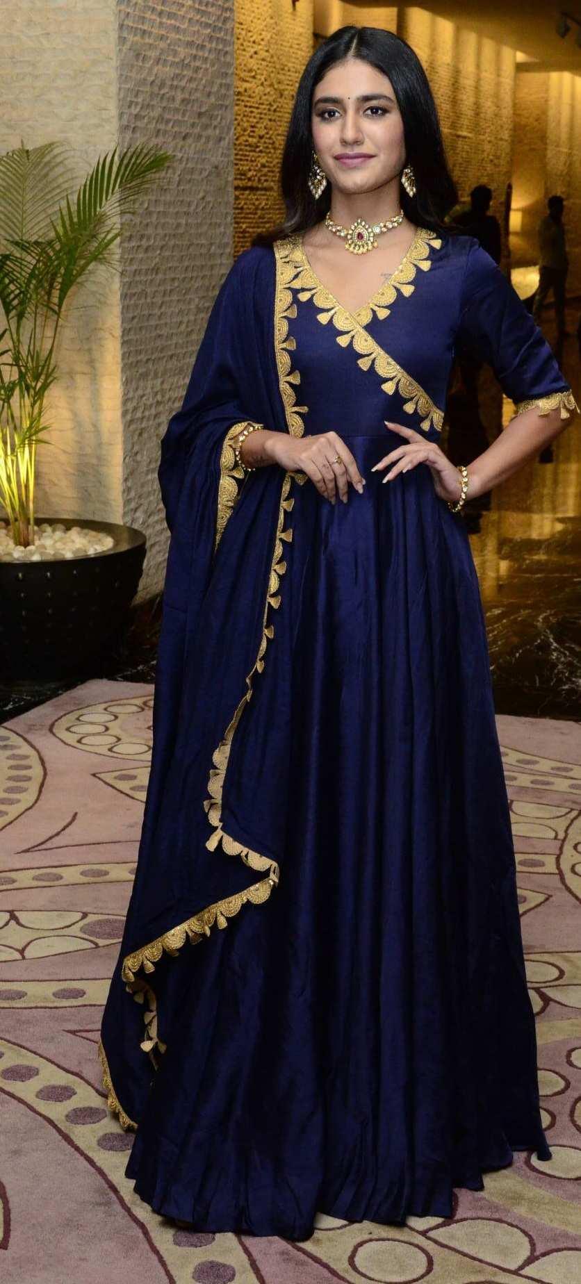 Priya Prakash Varrier in navy blue anarkali for Ishq pre-relese event-2