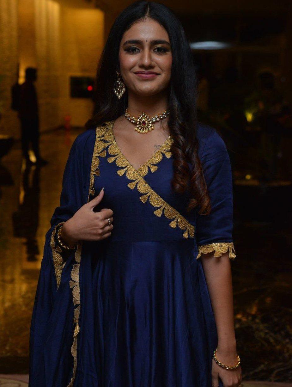 Priya Prakash Varrier in navy blue anarkali for Ishq pre-relese event-4