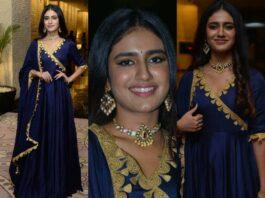 Priya Prakash Varrier in navy blue anarkali for Ishq pre-relese event-featured
