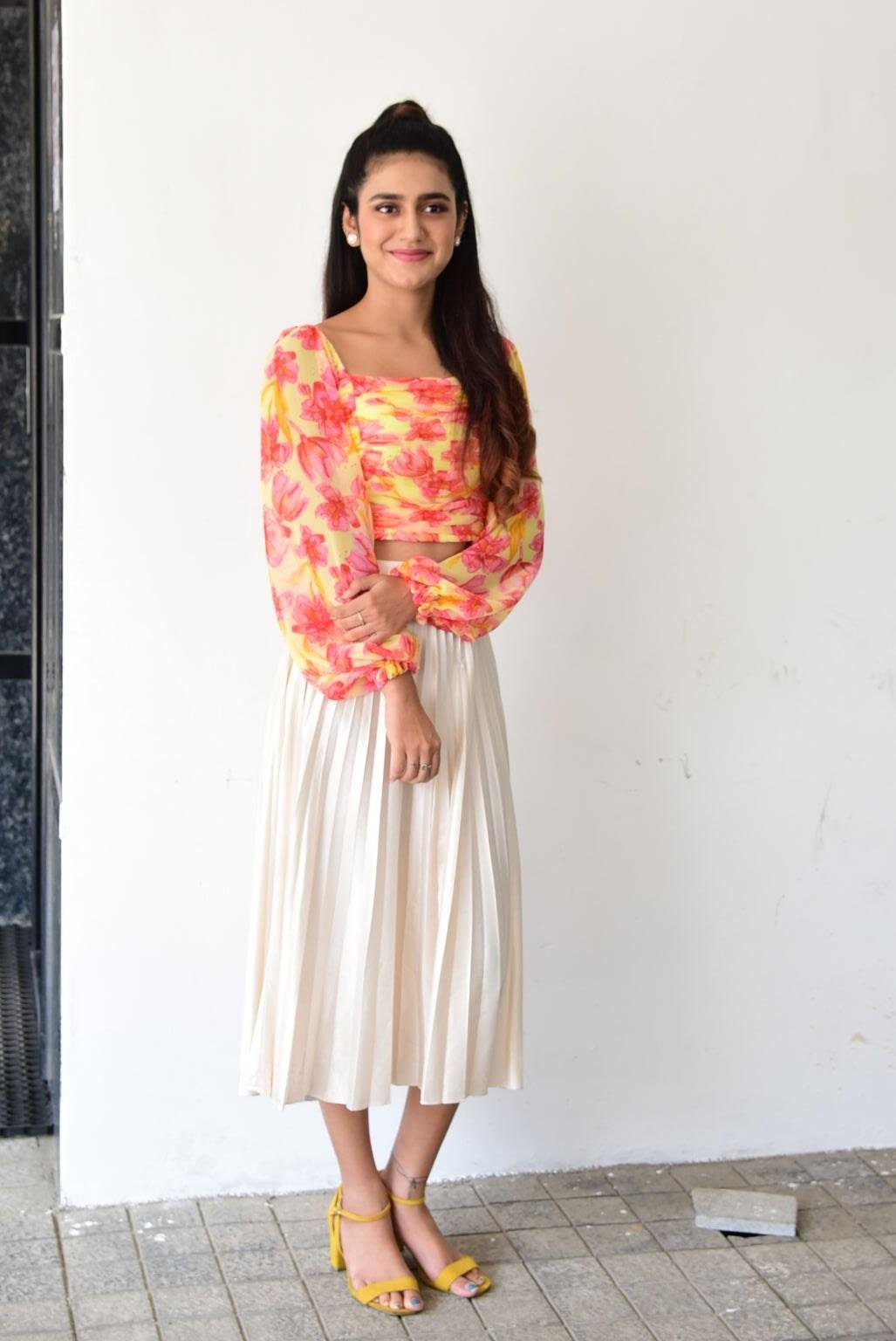 Priya Prakash varrier in skirt and top for Ishq promotions