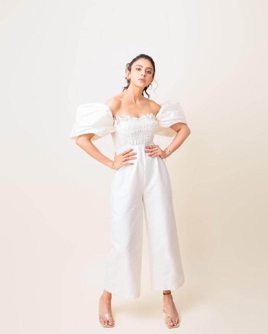Rakul preet Singh in white jumpsuit by Shriya Som for No.1 Yaari-2