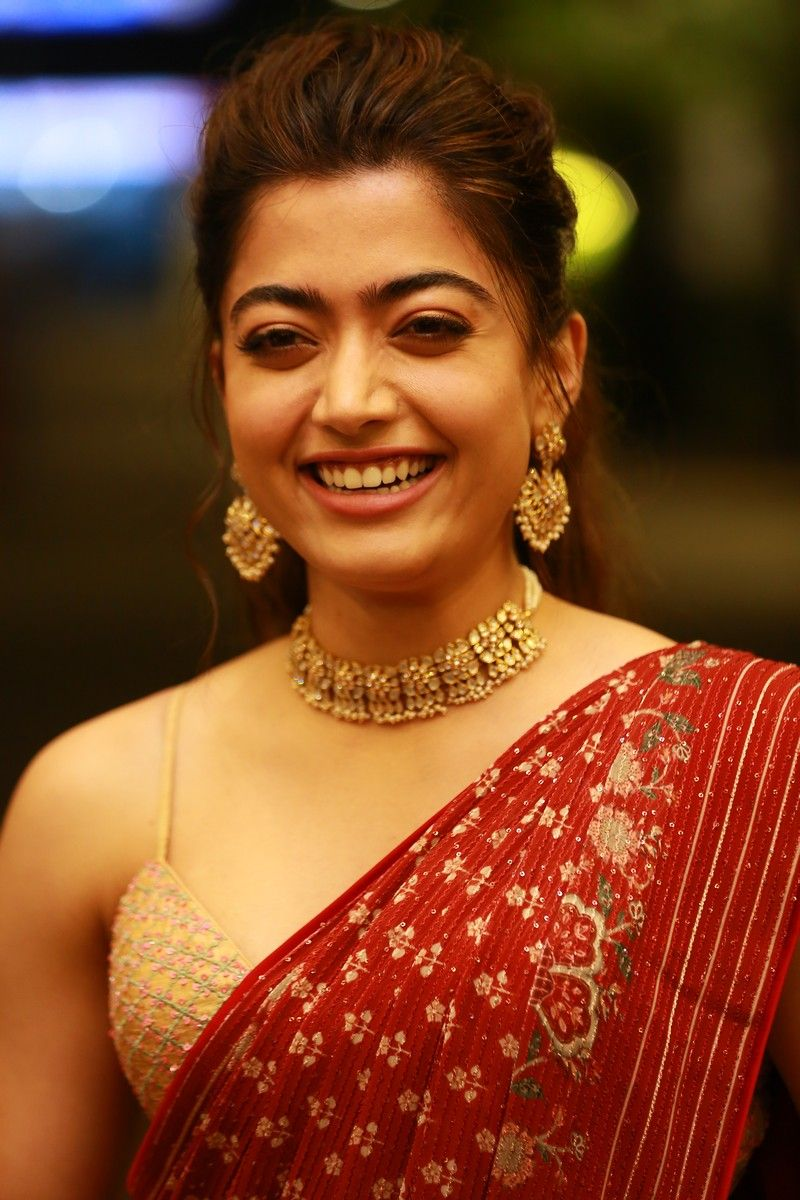 Rashmika mandanna in a red saree for Sulthan pre-release event