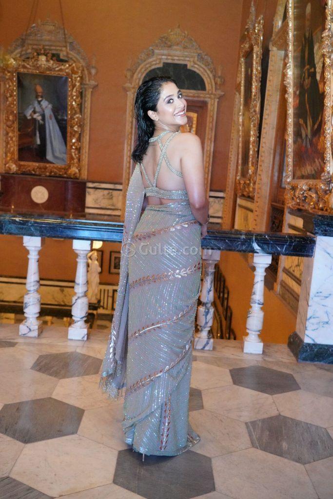 Regina Cassandra in sequin saree for 10 years of sandy function