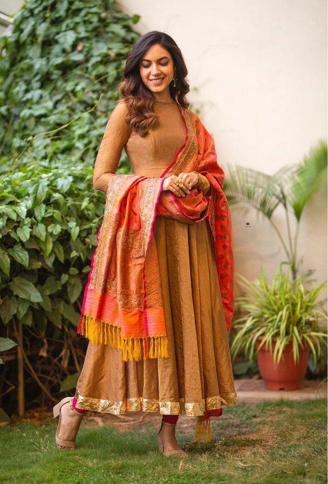 Ritu Varma in peanut anarkali by Geethika Kanumili for Tuck jagadish promotions-1